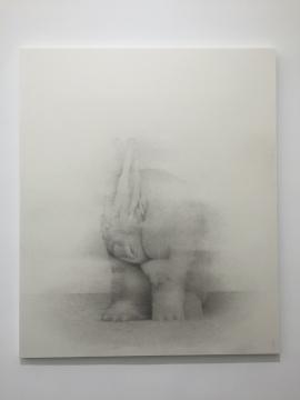 《舔手的兔子》 185×156cm 宣纸水墨 2016