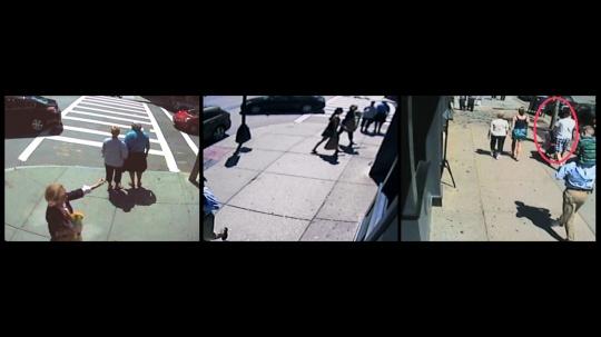 《Boylston街886号 波士顿 纽约》 单路视频 21分20秒装置 监控录像 铁 投影布 投影仪 370x380x380cm 2014