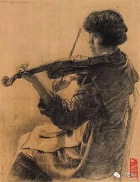 Lot5 徐悲鸿 《悠悠提琴声》 39×30cm 纸本素描  估价:22万-32万(©当代)