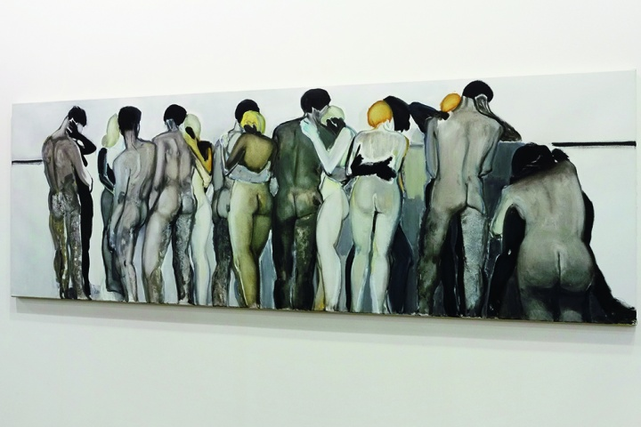 由龙美术馆收藏的作品 Marlene Dumas 《Love your neighbor》 100.3 x 300.4 cm  布面油画 1994