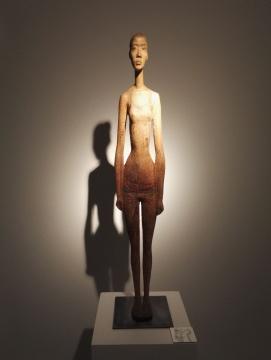 黄智涛《哑哑》 118×25×25cm 香樟木 2009
