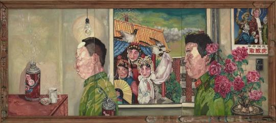 """刘炜 《革命家庭系列》(三联作)172×381cm布面油画1994  成交价:3884万港币香港苏富比2016春拍——""""现当代亚洲艺术晚间拍卖"""""""