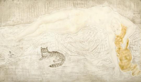 藤田嗣治《裸女与猫》97.5×163cm布面油画1930成交价:3940万港币由龙美术馆收藏  为艺术家第二高拍卖成交价作品