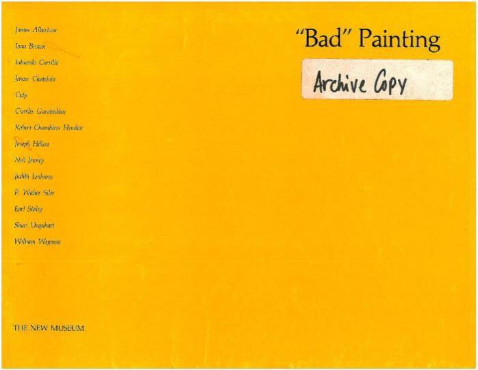 "Marcia Tucker策划的展览""bad painting""海报 纽约新当代艺术博物馆1978年"
