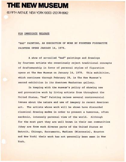 """Marcia Tucker策划的展览""""bad painting""""资料 纽约新当代艺术博物馆1978年"""