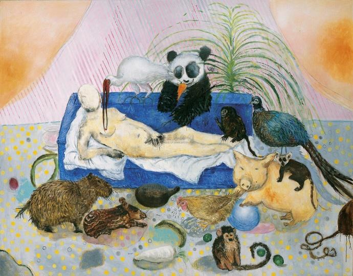 段建宇 《艺术鸡七号》 180×226.8cm 布面油画 2002