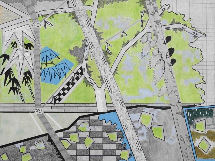 """种子画廊2.0金景鸿个展""""景片"""",艺术家用画布、纸本作为虚拟舞台,拆分、重构、拼贴,组合搭建了一个个""""景片""""。当观众走进展览现场,就成为假定的角色。"""