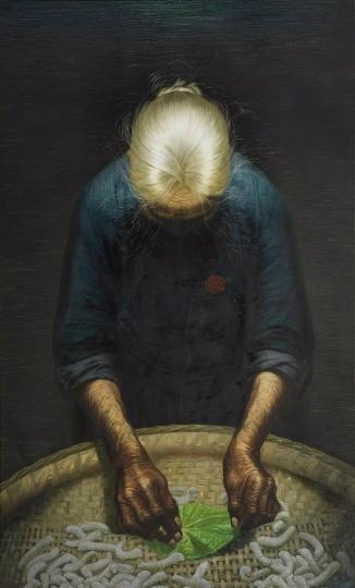 罗中立 《春蚕》布面油彩 220×148cm1980年