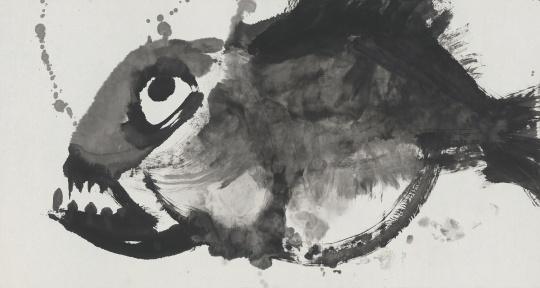 《死不瞑目》纸本水墨,180x98cm,2015