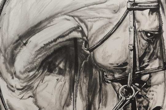 《马的肖像1》(局部) 纸本水墨 97×90cm 2016