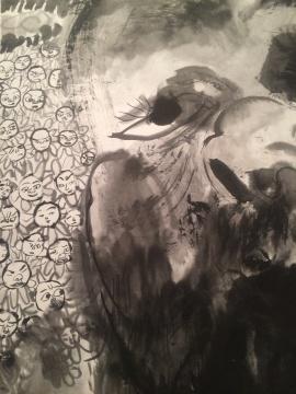 《偶像》纸本水墨 180×98cm 2015