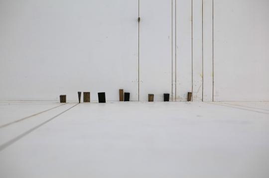 塔提亚娜·图薇《预制空间》铸锈铜、木头、划痕,尺寸可变,2014