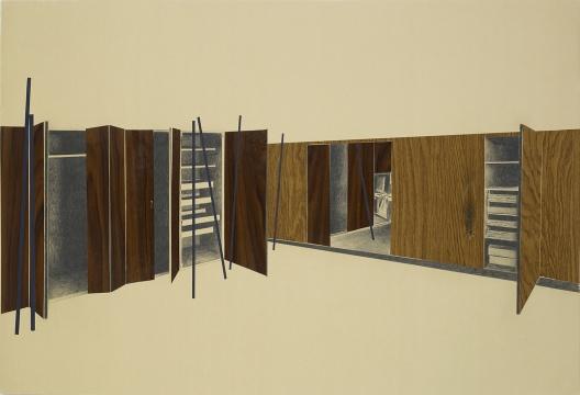 塔提亚娜·图薇 《无题,布局系列》 铅笔绘画,塑料,烧痕 2008