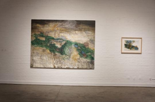 《千里江山》200x250cm 布面油画 2016  作品画面来自于影片中一个场景,是艺术家由影片而引出的一张油画作品。
