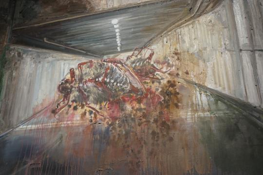 《通道 A》(局部) 布面油画 200×150cm 2016