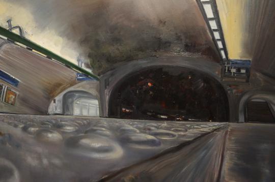 《通道 B》(局部)布面油画 200×150cm 2016