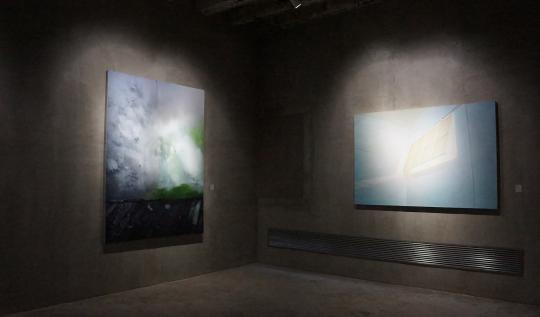 许珂《谜一样的墙根》 布面丙烯 200×150cm 2010(左) 王强《天窗》 布面丙烯 121×180cm 2011