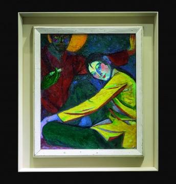 冯国东 《我和我老婆》 78×66cm 布面油画 1973  估价:100万-150万元