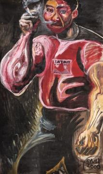张恩利 《吸烟的人》 132×77.5cm 布面油画 2000  估价:130万-150万元