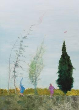段建宇 《如何在高原放松自己-在适当的时候让文胸和帽子随风飘荡》 250×180cm 布面油画 2008  估价:90万-120万元