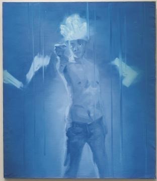 谢南星 《拿枪的自画像》 148×128cm 布面油画 1997  估价:80万-100万元