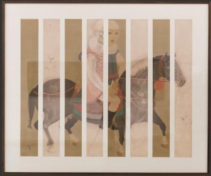 郝量 《我与堂吉诃德》 185×150cm 绢本重彩、纸本水彩 2007-2008  估价:90万-120万元