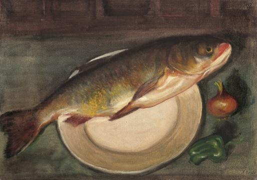 李铁夫 《鱼》 55×79cm 布面油画 1947  估价:100万-120万元