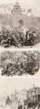 费尔南德·柯罗蒙 《在中国的交战场面·巷战场面·中世纪的交战场面》 27.5×22.5cm;16.5×21cm;18×26cm 钢笔素描 约1863   估价:5万-8万元
