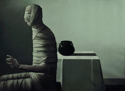 吴德斌 《自述》 120×164cm 布面油画 1987  估价:120万-180万元