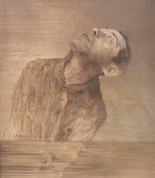 毛焰 《向上看》 92×81cm 布面油画 1997  估价:110万-130万元