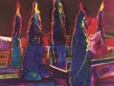 黄宇兴 《树丛》 100×250cm 布面油画 2011  估价:28万-38万元