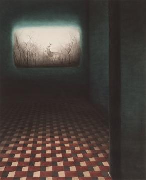 秦艾 《被盗走的风景》 97.5×74cm 纸本彩墨 2015  估价:20万-28万元