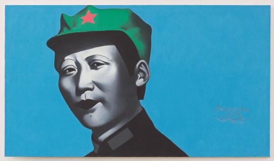 Lot 2837 李山 《胭脂系列·绿帽毛泽东》 115×200cm 布面丙烯 1994  估价:350万-450万