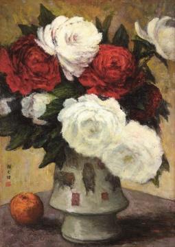 Lot 2821颜文樑 《五牛图瓶花》 53×38cm 布面油画 1970  估价:260万元-360万元