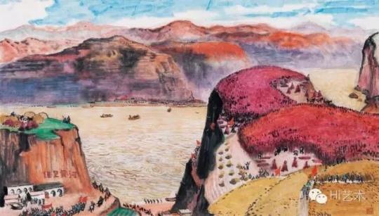 Lot 2643 古元 《黄河颂》 57.8×98 cm 纸本彩墨 1970  估价:25万-35万元