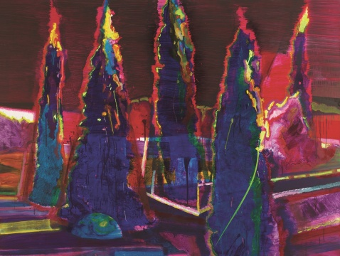 Lot 2749 黄宇兴 《树丛》 100×250cm 布面油画 2011  估价:28万-38万元