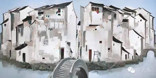 吴冠中 《周庄》 148 × 297cm 布面油画 1997 成交价:2.36亿港币 保利香港2016春拍