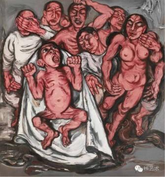 曾梵志《肉系列之三:献血过量》 180×167cm 布面油画 1992 香港佳士得2016春拍 成交价:3036万港币