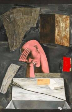 张晓刚《黑色三部曲:忧郁》 177.8×114.3cm 布面拼贴、油彩 1990 香港佳士得2016春拍 成交价:844万港币
