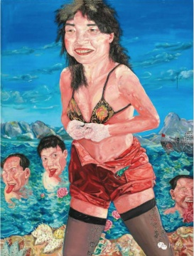 刘炜 《游泳美女 第三号》 200×150cm 布面油画 1994 香港佳士得2016春拍 成交价:1684万港币