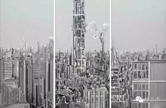 刘韡《紫气1-1;紫气1-2;紫气1-3》(共三件) 299.5×150cm×3 布面油画 2005香港佳士得2016春拍 成交价:484万港币