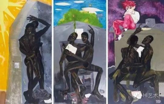 黄宇兴 《视觉与成长》系列:《在阳光下看王老师的写生》、《在夏夜看王老师写的文章》、《在春天看王老师推介的素描》 244×122cm×3 塑板综合材料 2000 成交价:103.5万元 刷新艺术家拍卖纪录 中国嘉德2016春拍