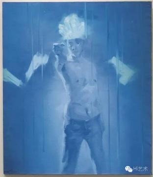谢南星 《拿枪的自画像》 148×128cm 布面油画 1997 成交价:151.8万元 北京匡时2016年春拍