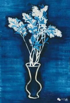 常玉 《蓝色背景的盆花》 72.5×46.5cm 布面油画 1956 成交价:3933万元