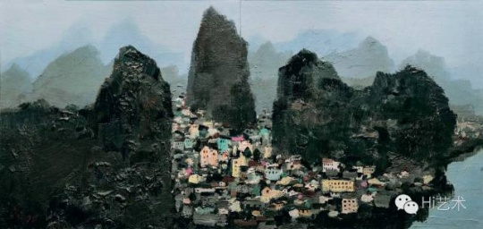 吴冠中 《桂林》 43×88cm 木板油画 1970-1996 成交价:2300万元