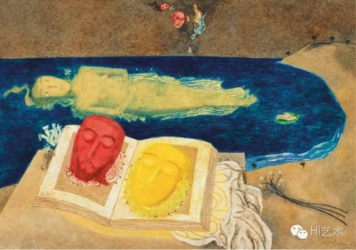张晓刚 《浩瀚的海》 54.6×78.5cm 纸本油彩 1989  估价:200万港币 至 240万港币