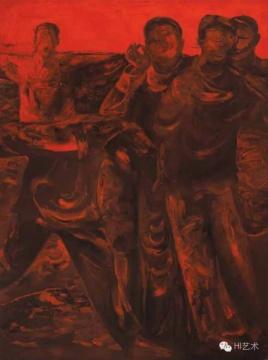 沈小彤《好多的红人之二》 198×148.5cm布面油画 1992  估价:80万港币 至 120万港币
