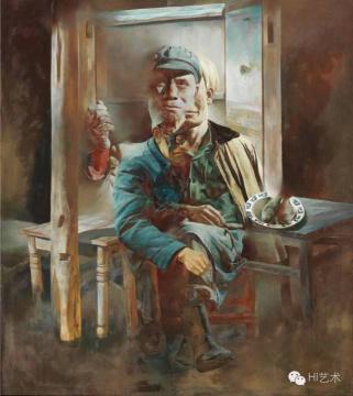 汪建伟《盲眼》 160×140cm布面油画 1990  估价:180万港币 至 260万港币
