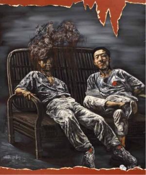 何森《椅上的两人》 180×150cm 布面油画 1991  估价:80万港币 至 120万港币