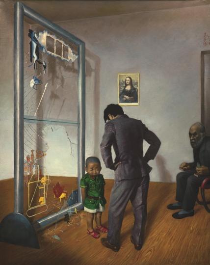 王兴伟 《可怜的汉密尔顿》 180×180cm 布面油画 1996